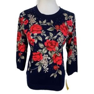 Sweater Blue Red Rhinestones Floral Size S